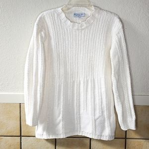 A Knitch Above  cream color thick corded sweater